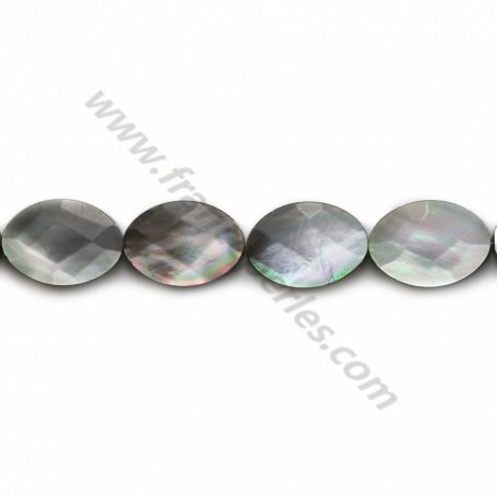 Gray mother-of-pearl faceted oval beads on thread 10x14mm x 40cm