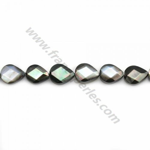 Grey shell faceted flat drop 7*9mm X 40cm