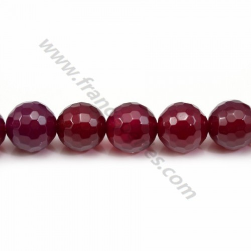 Agate fushia teinted round faceted 8mm x 40 cm