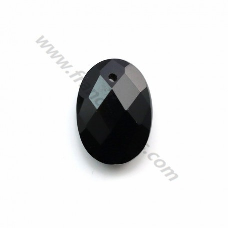 Pendant black agate faceted oval 10*14mm x 1pc