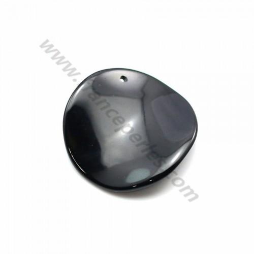 Pendentif agate noir ronde courbé 27mm x 1pc