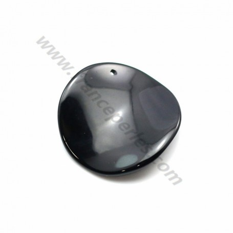 Pendant black agate curved round 27mm x 1pc