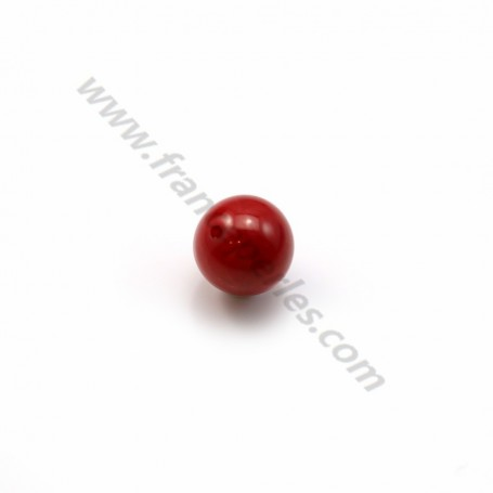 Sea red bamboo half drilled round 6mm x 6pcs
