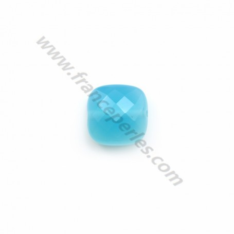 Agate tinted blue square 10mm x 1pc