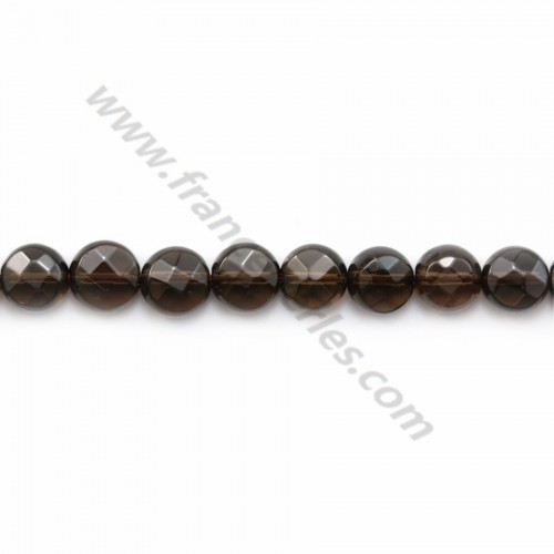 Smoky quartz faceted flat round 6mm x 40cm