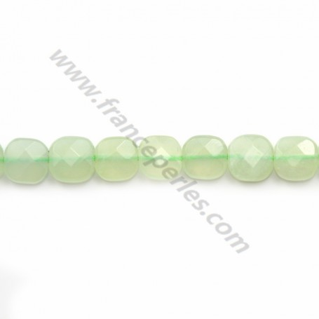 Tinted green jade faceted square 6mm x 40cm