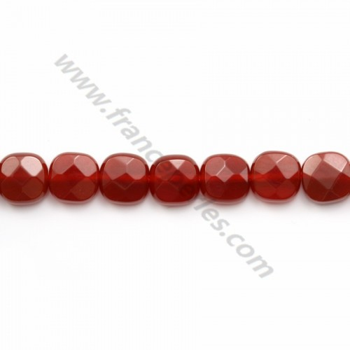 Red agate faceted square 6mm x 40cm