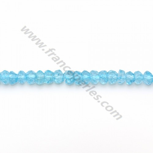 Blue Topaz facet rondelle 3.5-4mm x 33cm
