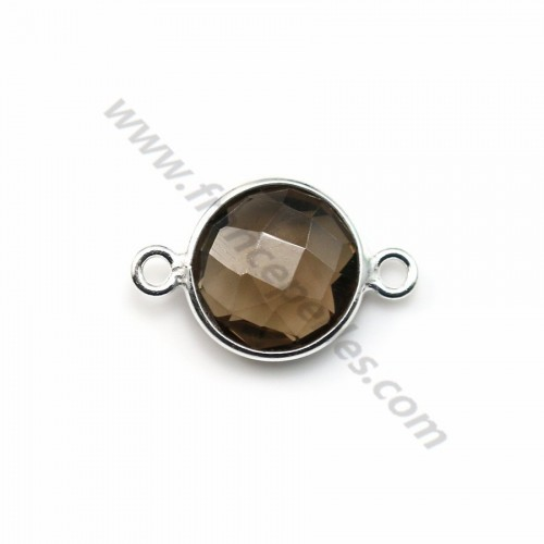 Faceted round smoky quartz set in sterling silver 2 rings 11mm x 1pc