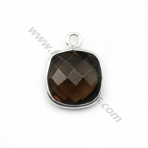 Faceted cushion cut smoky quartz set in sterling silver 11mm x 1pc