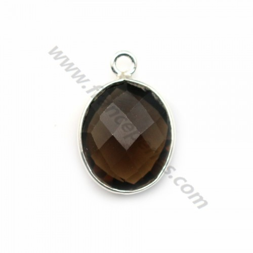 Faceted oval smoky quartz set in sterling silver 10*12mm x 1pc