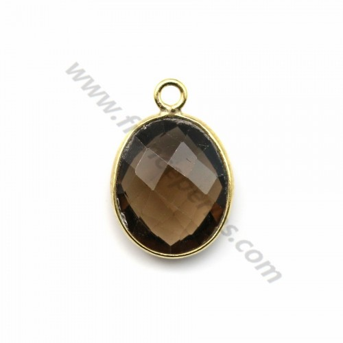 Faceted oval smoky quartz set in gold-plated silver 11*13mm x 1pc