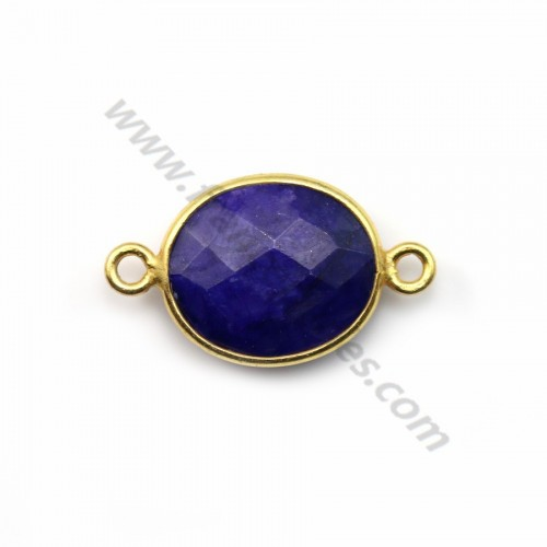 Oval faceted treated blue gemstone set in gold plated silver 2 rings 10*12mm x1pc