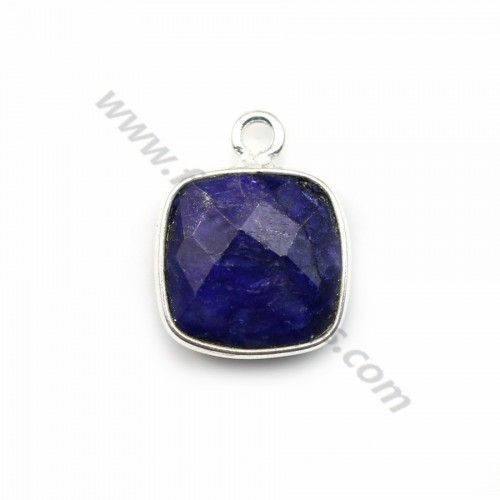 Square cut faceted treated blue gemstone set in 925 sterling silver 11mm x 1pc