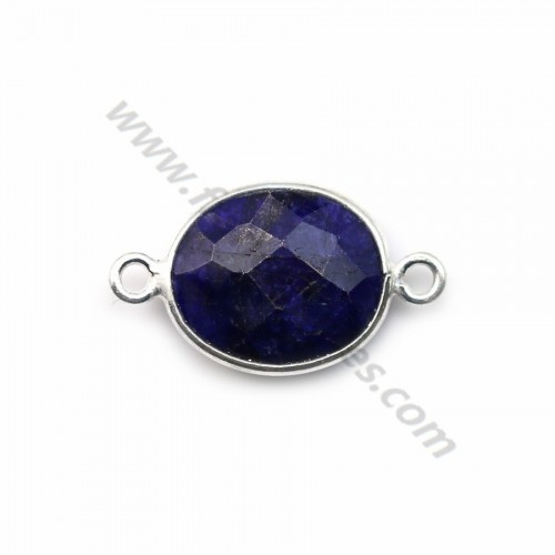 Oval faceted treated blue gemstone set in sterling silver 925 2 rings 11x13mm x 1pc