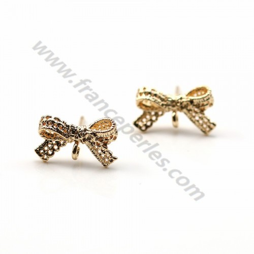 "Clous d'oreilles noeud de papillon plaqué par ""flash"" or sur laiton 8x14mm x 4pcs"