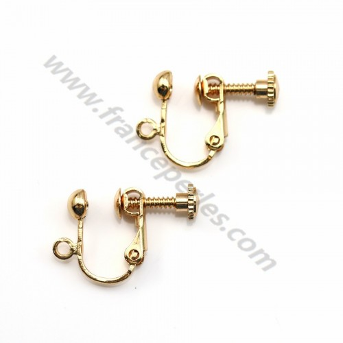 "Earring clip veneer by ""flash"" Gold on brass 13mm x 6pcs"
