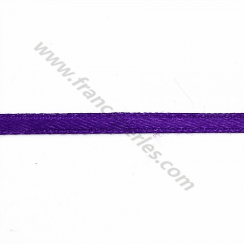 Fil polyester Double face satin violet 3mm X 5 m