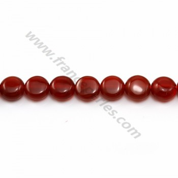 Cornelian flat round beads on thread 8mm x 40cm