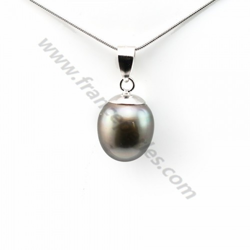 Pendant tahiti cultured pearl & sterling silver 925 12.5x15mm x 1pc