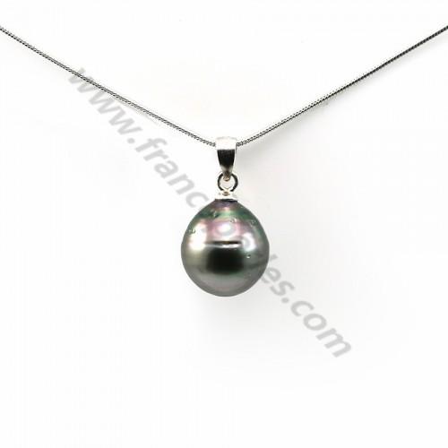 Pendentif Perles Tahiti bélière Argent 925 11x13mm x 1pc