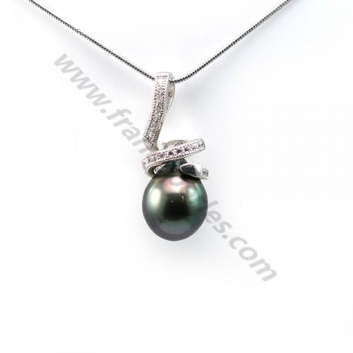 Pendant tahiti pearl & straling silver 925 10x24.5mm x 1pc