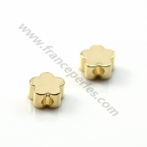 "Intercalary flower stuck  by ""flash"" Gold on brass 2.5*5mm x 10pcs"