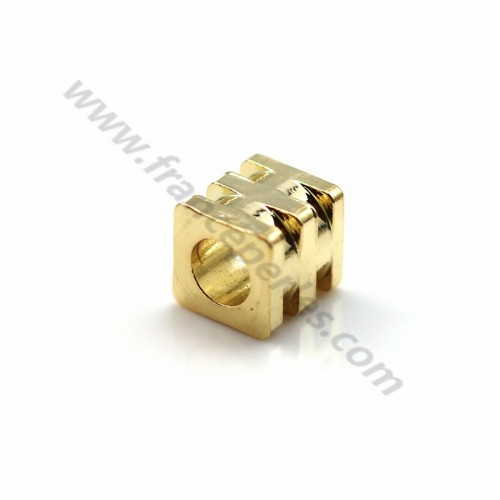 "Intercalary cube stuck  by ""flash"" Gold on brass 3*3.2mm x 10pcs"