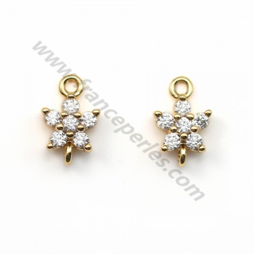 "Flower zirconium spacer plated ""flash"" gold brass 5.3*8.3mm x 2pcs"