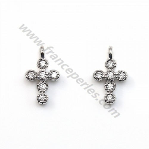 Cross with zirconium plated white gold on brass 6x10mm x 2pcs