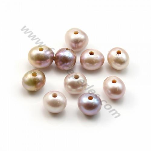Perle d'eau douce mauve oval 9-11mm large perçage 2.0mm x 10pcs