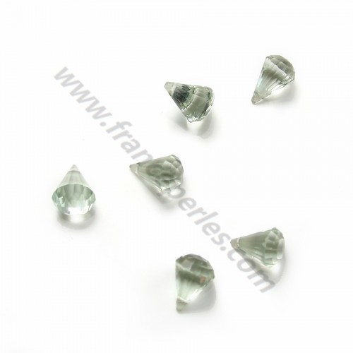 Prasiolite faceted pyramid drop x 1pc