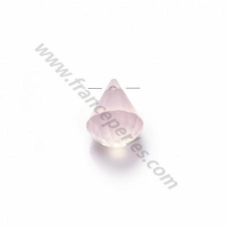 Pink Quartz faceted pyramid drop x 1pc