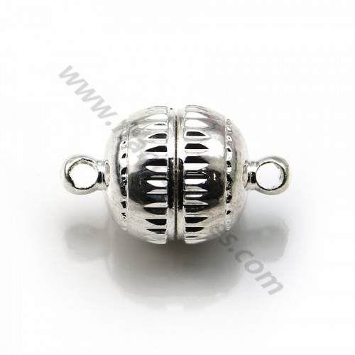 Silver tone 3 strands spring ring clasp 15mm  x 1 pc