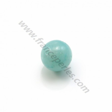 Amazonite, half drilled, round 8mm x 4pcs