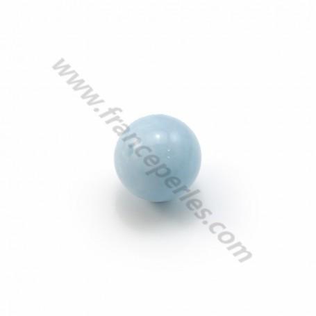 Aquamarine half drilled round 8mm x 2pcs