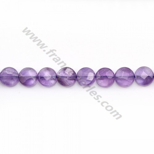 Clear amethyst faceted flat round 8mm x 6pcs