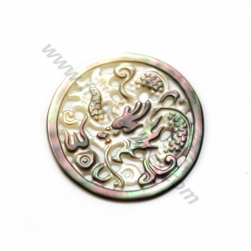 Gray round mother-of-pearl with dragon design 35mm x 1pc