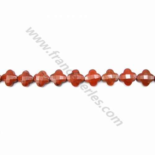 Red jaspe clover faceted 13 mm x 2pcs.