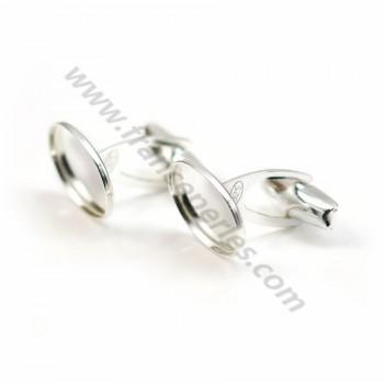 Boutons manchettes plateau oval 10*14mm ,argent 925, x 2pcs
