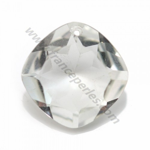 Pendant rock crystal in the shape of rhombe faceted 16.5mm x 1pc