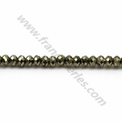 Pyrite rondelle faceted 2*3mm x 38cm
