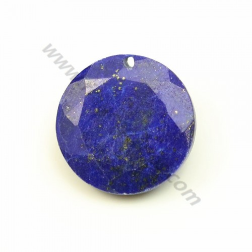 Pendant rock crystal round faceted 15mm x 1pc