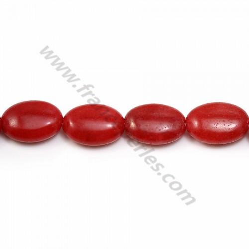 Jade teinté ovale rouge 10*14mm X 40cm