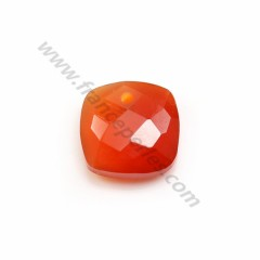 Pendant cornaline square faceted 10mm x 1pc