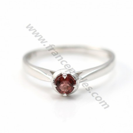 Red tourmaline ring 925 silver rhodium x 1pc