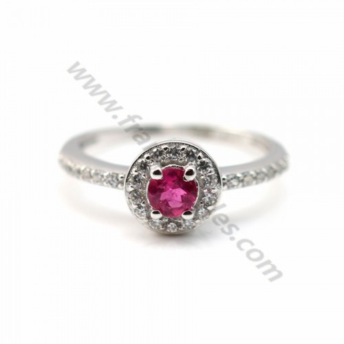 Ring pink tourmaline and zirconium 925 sterling silver x 1pc