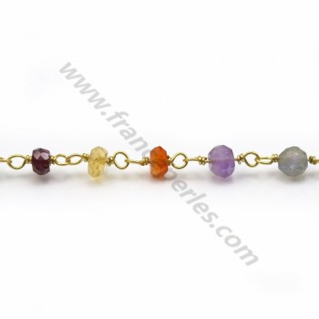 Gold Plated Silver Chain with Mixed Stones of 3-4mm x 20cm
