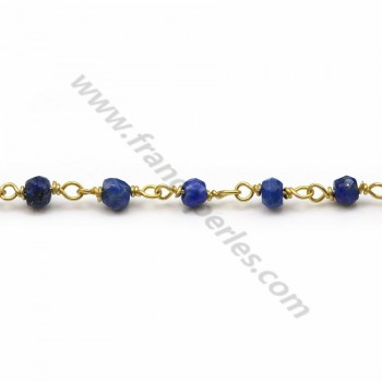Gold plated silver chain with lapis lazuli of 2*3mm x 20cm