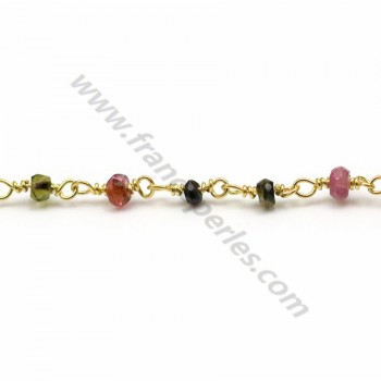Gold plated silver chain tourmaline with of 3mm x 20cm